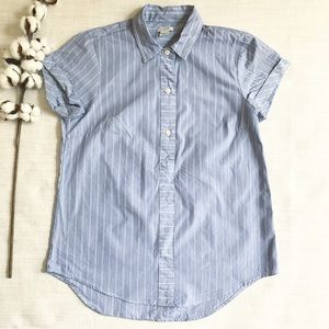 J Crew Short Sleeve Oxford Button Down Striped A3
